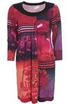 Jersey kjole fra Q-neel i glade farver med langt ærme