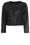 Smart læder-look jakke fra bohéme, kort model, let figur-syet med detaljeret syninger